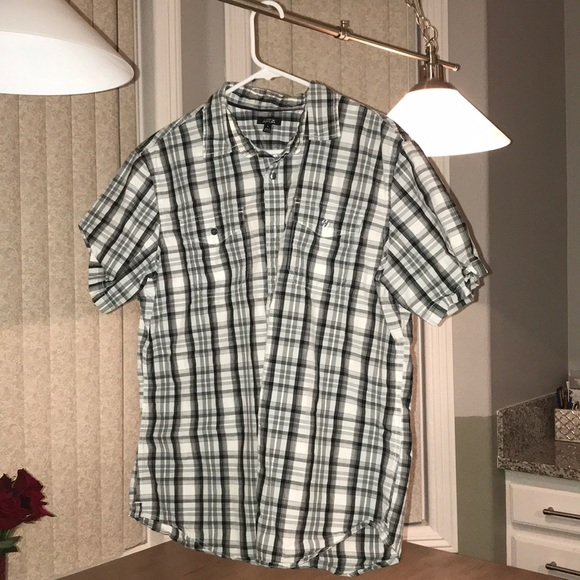 Apt. 9 Other - Black gray and white plaid short sleeve shirt